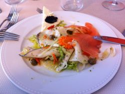 beautiful Sicilian dish of seafood and vegetables